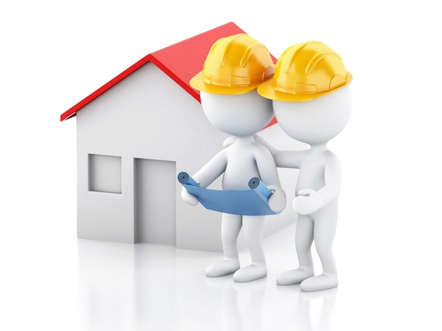3d two architect people with helmet, plans and house. construction concept.