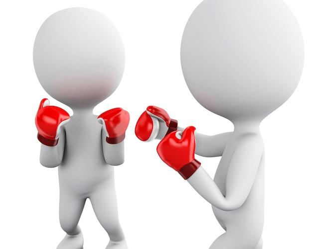 3dボクシングの一致の2つの白人の人々。