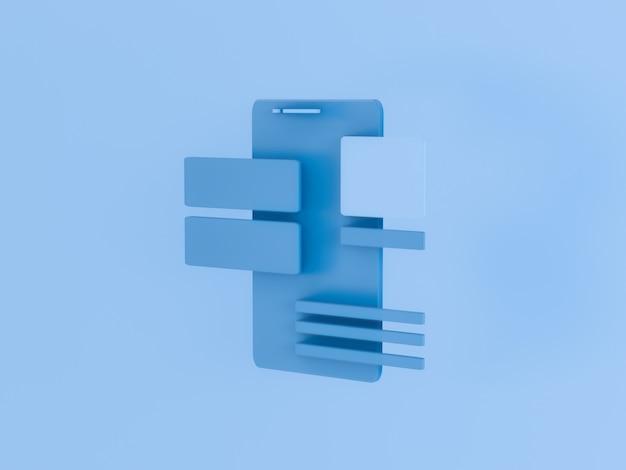 3d представляют телефона с блоками ui ui. разработка приложений.