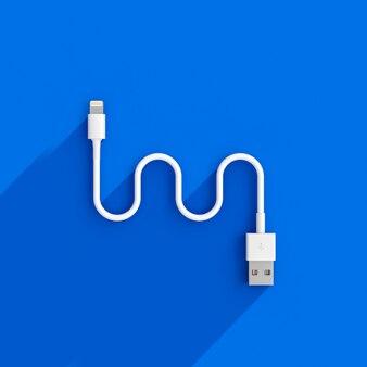 3d представляют изображение кабеля usb на сини