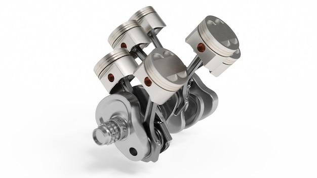 Перевод 3d двигателя внутреннего сгорания. детали двигателя, коленвал, поршни, система подачи топлива. поршни двигателя v6 при коленчатый вал изолированный на белизне. иллюстрация двигателя автомобиля внутри.