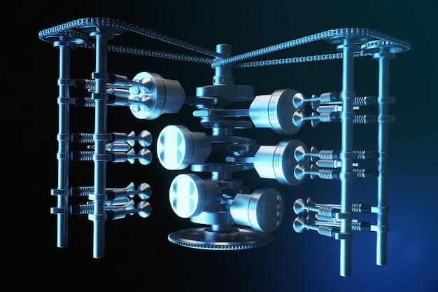 Иллюстрация 3d двигателя внутреннего сгорания. детали двигателя, коленвал, поршни, система подачи топлива. поршни двигателя v6 с коленвалом в движении. иллюстрация двигателя автомобиля внутри.