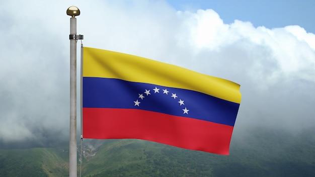 3d、山で風に手を振るベネズエラの旗。滑らかなシルクを吹くベネズエラのバナー。布生地のテクスチャは、背景をエンサインします。建国記念日や国の行事のコンセプトに使用してください。