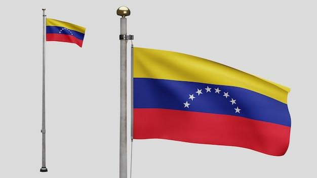 3d、風に手を振るベネズエラの旗。ベネズエラのバナーを吹く、柔らかく滑らかなシルクのクローズアップ。布生地のテクスチャは、背景をエンサインします。建国記念日や国の行事のコンセプトに使用してください。