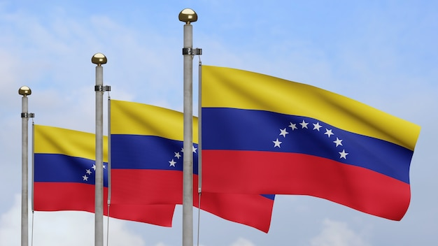 3d、青い空と雲と風に手を振るベネズエラの旗。ベネズエラのバナーを吹く、柔らかく滑らかなシルクのクローズアップ。布生地のテクスチャは、背景をエンサインします。
