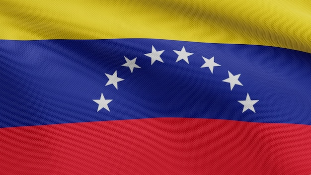 3d, venezuelan flag waving on wind. close up of venezuela banner blowing, soft and smooth silk. cloth fabric texture ensign background.