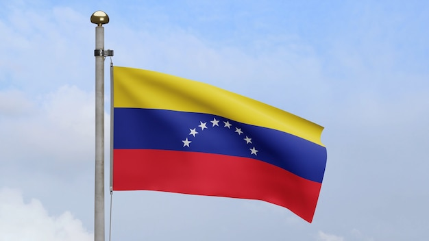 3d, venezuelan flag waving on wind with blue sky and clouds. venezuela banner blowing smooth silk. cloth fabric texture ensign background. use it for national day and country occasions concept.