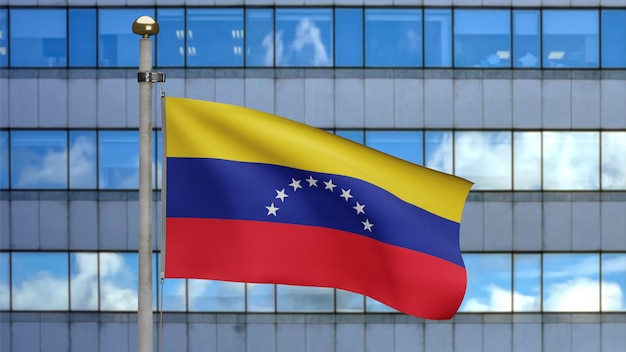 3d, venezuelan flag waving on wind with modern skyscraper city. close up of venezuela banner blowing, soft and smooth silk. cloth fabric texture ensign background.