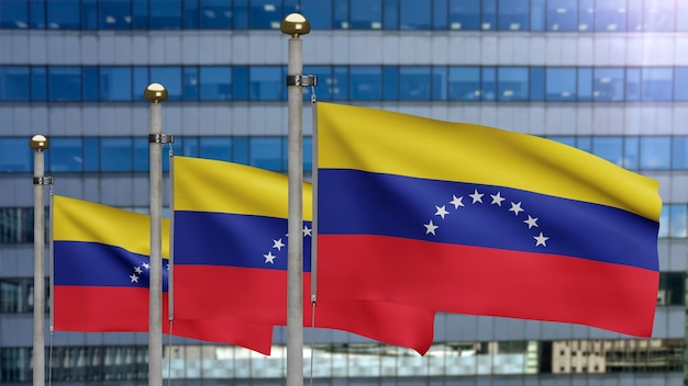 3d, venezuelan flag waving on wind with modern skyscraper city. venezuela banner blowing soft silk. cloth fabric texture ensign background. use it for national day and country occasions concept.