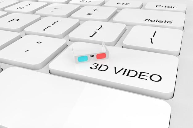 3d 비디오 개념입니다. 키보드에 극단적인 근접 촬영 3d 안경
