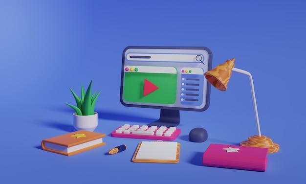 コンピューター上の3dビデオプレーヤープレミアム写真