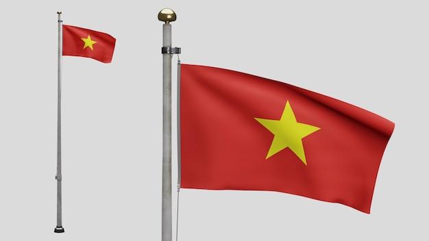 3d, 바람에 물결치는 베트남 국기. 베트남 현수막이 부는 부드럽고 매끄러운 실크를 닫습니다. 천 패브릭 질감 소위 배경입니다. 국경일 및 국가 행사 개념에 사용하십시오.