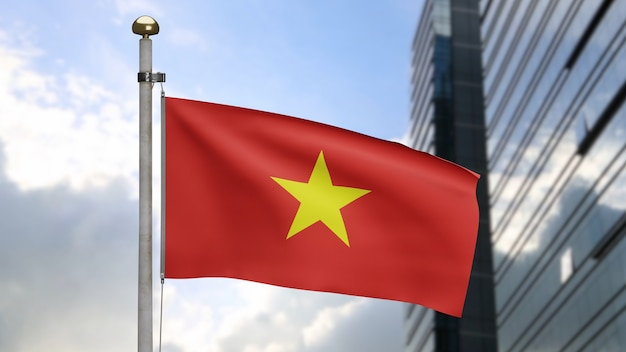 3d, 현대적인 마천루 도시와 함께 바람에 흔들리는 베트남 국기. 부드러운 실크를 부는 베트남 배너. 천 패브릭 질감 소위 배경입니다. 국경일 및 국가 행사 개념에 사용하십시오.