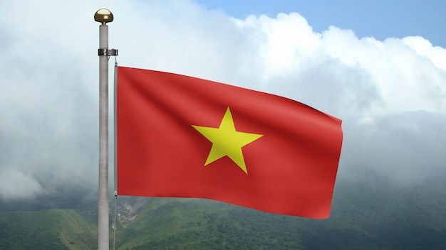 3d, vietnamese flag waving on wind at mountain. vietnam banner blowing, soft and smooth silk. cloth fabric texture ensign background. use it for national day and country occasions concept