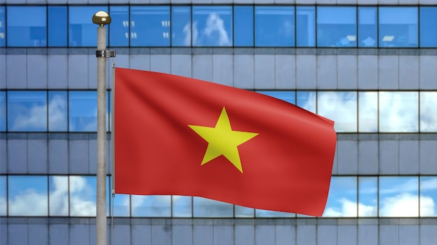 3d, vietnamese flag waving on wind with modern skyscraper city. close up of vietnam banner blowing, soft and smooth silk. cloth fabric texture ensign background.