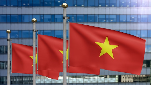 3d, vietnamese flag waving on wind with modern skyscraper city. vietnam banner blowing soft silk. cloth fabric texture ensign background. use it for national day and country occasions concept.