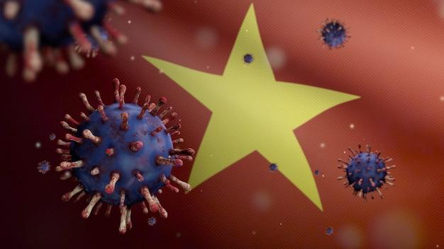 3d, 위험한 독감으로 호흡기를 감염시키는 코로나바이러스 발병과 함께 흔들리는 베트남 국기. 인플루엔자 유형 covid 19 바이러스에는 베트남 국기가 배경을 부는 배경이 있습니다. 전염병 위험 개념