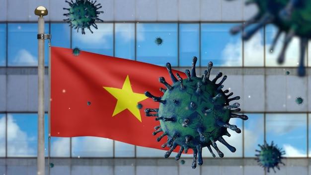 3d, 현대적인 마천루 도시와 코로나바이러스 2019 ncov와 함께 흔들리는 베트남 국기. 베트남의 아시아 발병, 코로나바이러스 인플루엔자는 전염병으로 위험한 독감 변종 사례입니다. 현미경 바이러스