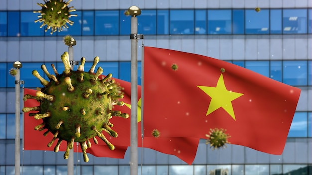 3d, vietnamese flag waving with modern skyscraper city and coronavirus outbreak as dangerous flu. influenza type covid 19 virus with national vietnam banner blowing background. pandemic risk concept