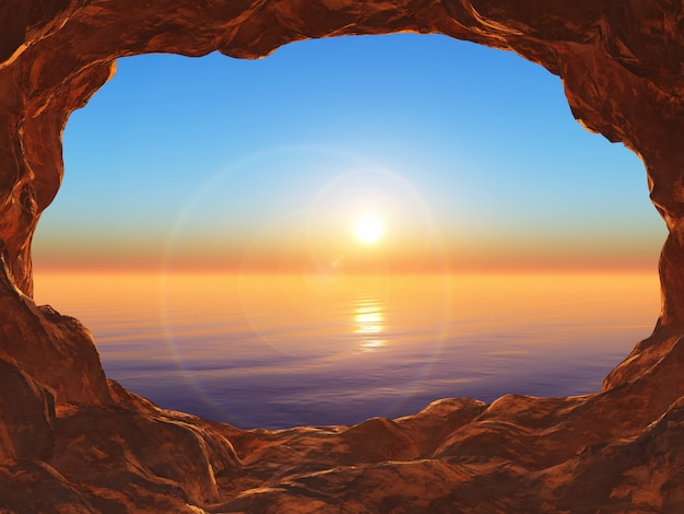 3d view from a cave looking out to a sunset ocean