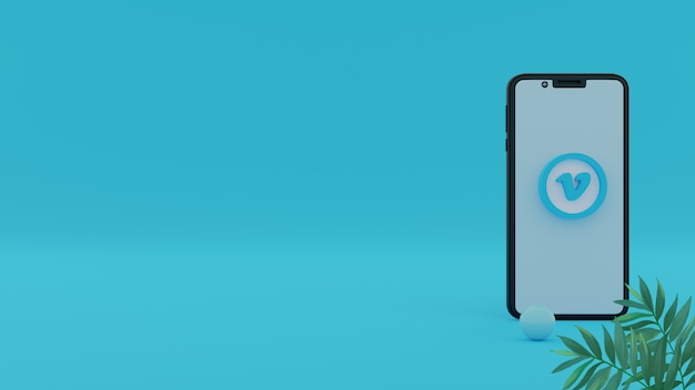 3d vimeo logo with smartphone