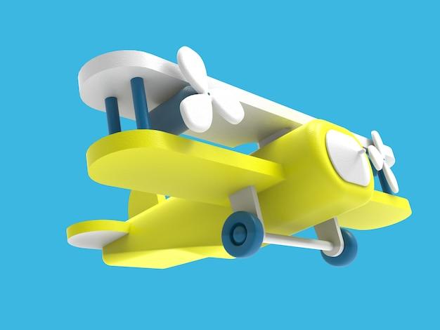 3d  vintage air plane toy, 3d illustration