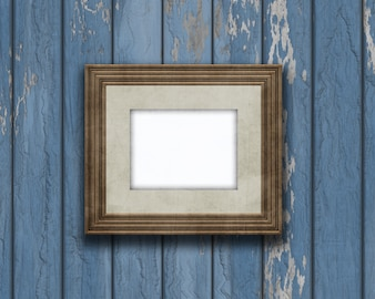 3D vintage blank picture frame on an old wooden wall