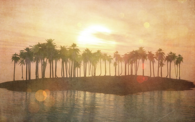 3d vintage image of a tropical island
