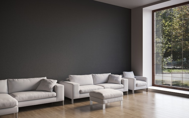 3d-визуализация большого просторного современного интерьера с бетонной стеной и удобным диваном