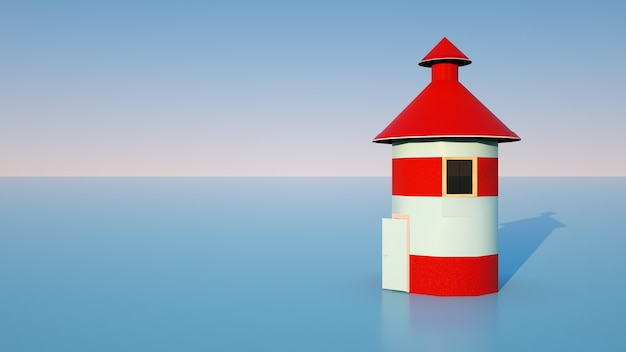 水上の建物、灯台の3d視覚化。