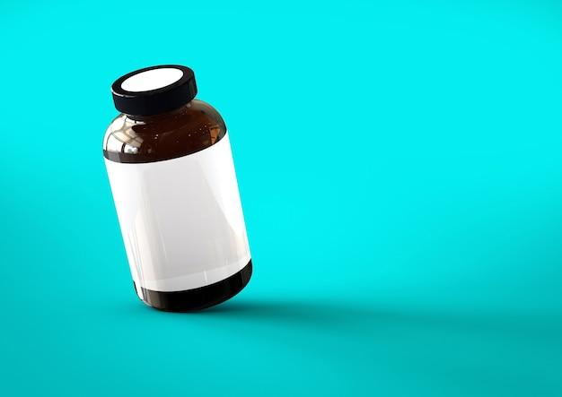 青いtoschaの背景に分離された3dビタミンボトル。デザイン要素に適しています。