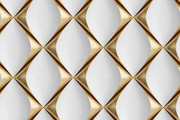 金の装飾要素を持つ白い革で作られた3d壁パネル