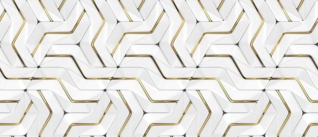金色の装飾が施された3d壁の白いパネルとシェーディングされた幾何学的モジュール