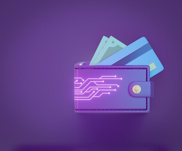 보라색 배경에 신용 카드 지폐 아이콘이 있는 3d 지갑 돈 가방. 3d 렌더링 그림