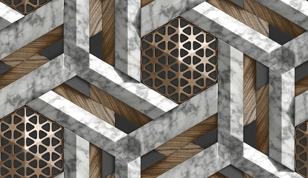 3d wallpaper in the form of imitation of decorative mosaic of brown metal, white marble and brown wood elements