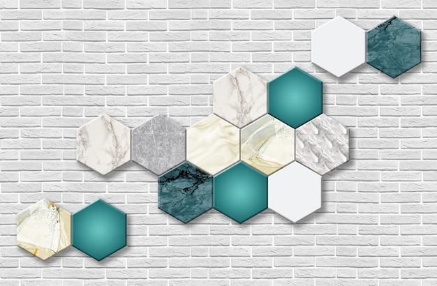 3d 벽지 벽화 배경 육각 모양과 대리석 회색 벽 벽돌 벽 홈 장식