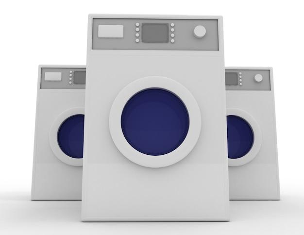 3d洗濯機のコンセプト。 3dレンダリングされたイラスト