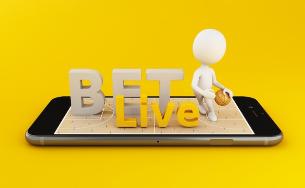 3d watching basketball and betting online concept