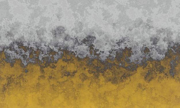 3d風化した灰色と黄色のセメント壁のテクスチャ