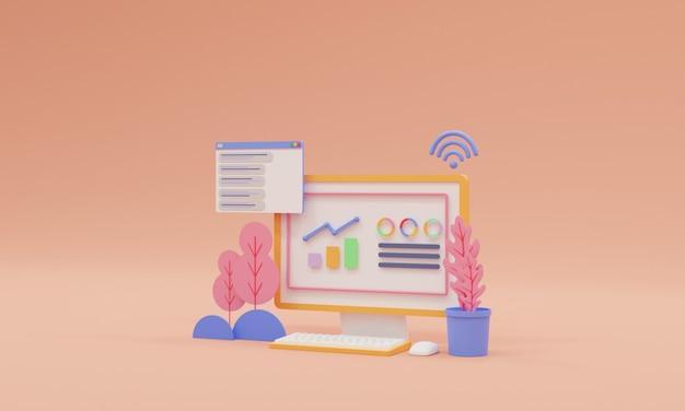 3d web analytics and seo marketing concept