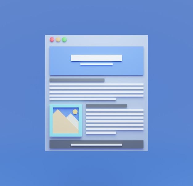 3d веб-браузер со значком изображения на пустом синем фоне современная концепция дизайна пользовательского интерфейса Premium Фотографии