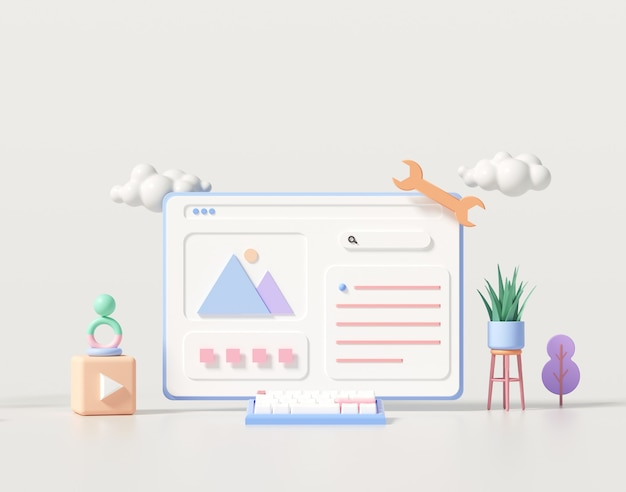 3d web development, application design, coding, and programming on laptop concept