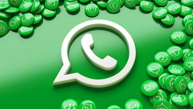 たくさんのwhatsapp光沢のある丸薬に囲まれた緑の背景上の3dwhatsappロゴ