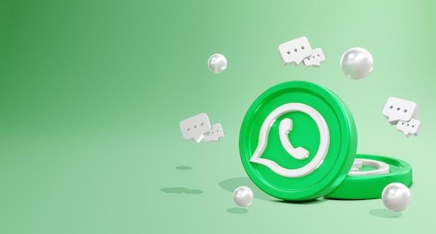 코인 모델 및 채팅 아이콘이 있는 3d whatswpp 소셜 미디어 로고