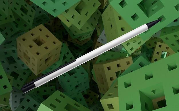 녹색 큐브 배경에 3d 흰색과 검은 색 펜