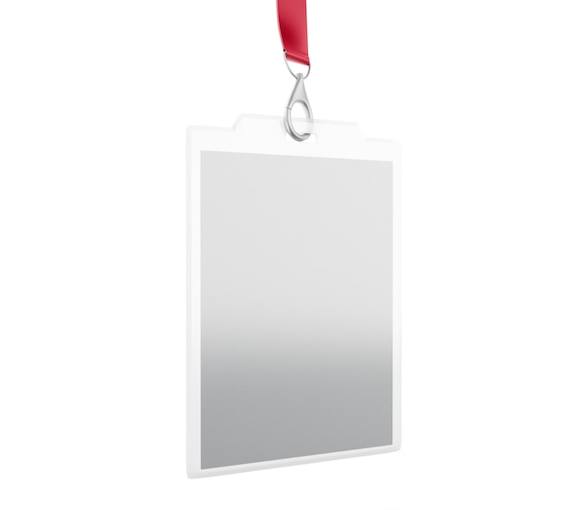 3d white blank plastic id badge with lanyard