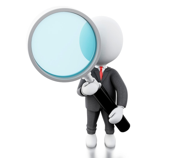 3d white business people examines through a magnifying glass