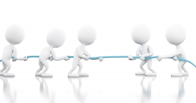 3d white business people pulling the rope