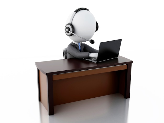 3d white business people with a headphones with microphone and laptop.