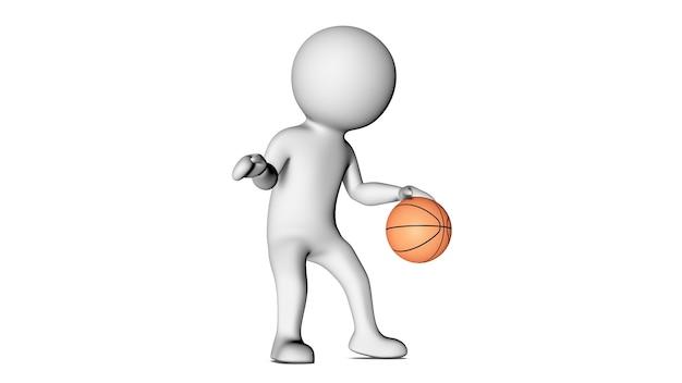 3d白いキャラクターとバスケットボール
